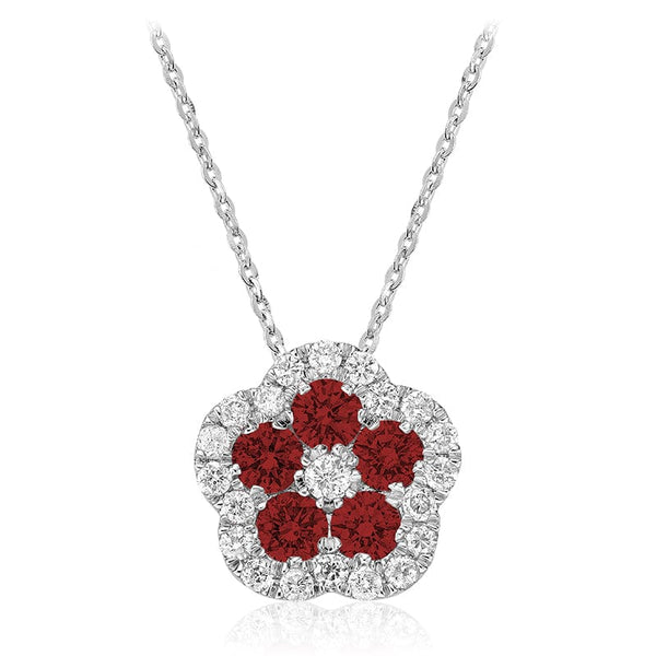 Diamond and Gemstone Flower Pendant