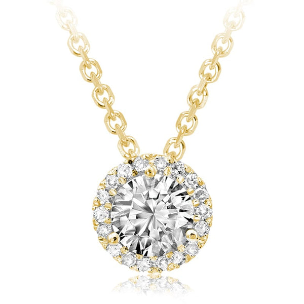 14K Yellow Gold Martini Halo Diamond Pendant