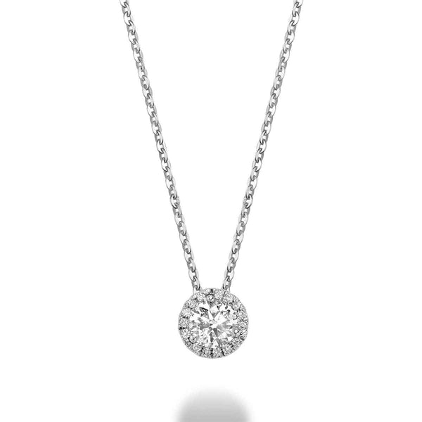 14K White Gold Martini Halo Diamond Pendant