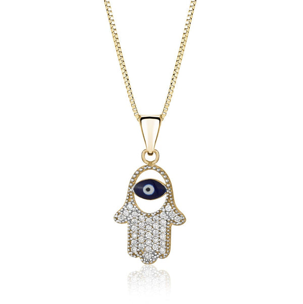 Gold and Diamond with Evil Eye Hamsa Pendant