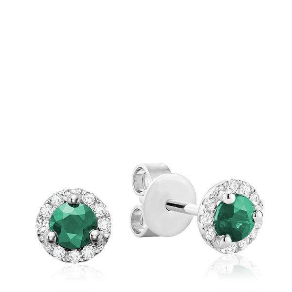 14K White Gold Martini Cup Gemstone and Diamond Studs