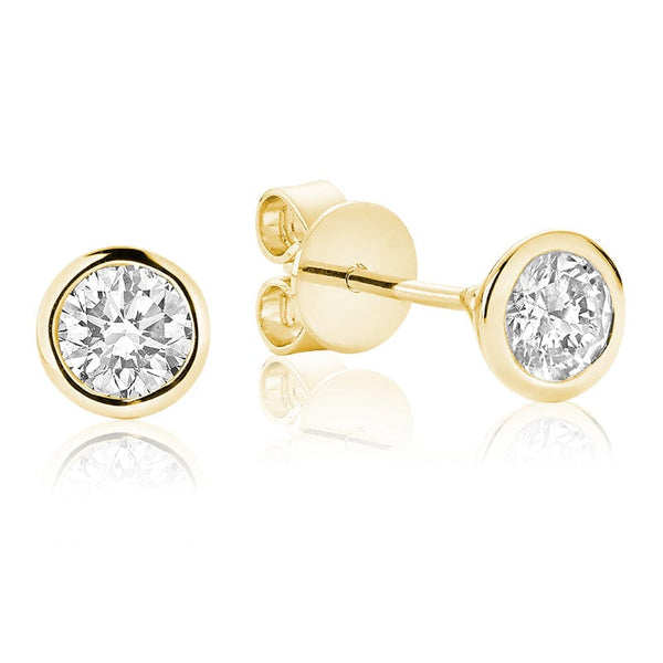 14K Yellow Gold Bezel Set Diamond Studs