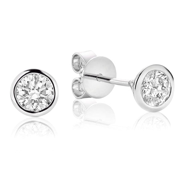 14K White Gold Bezel Set Diamond Studs