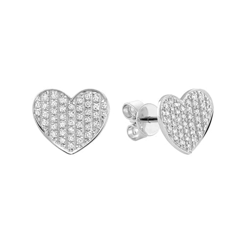 14K Gold Pavé Diamond Heart Earrings