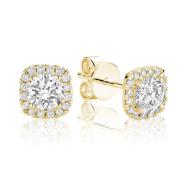 14K Yellow Gold Diamond Halo Cushion Studs