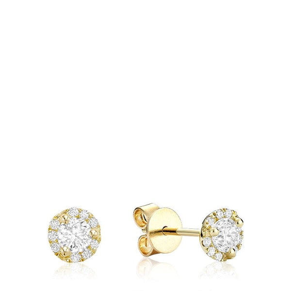 14K Yellow Gold Martini Cup Diamond Studs