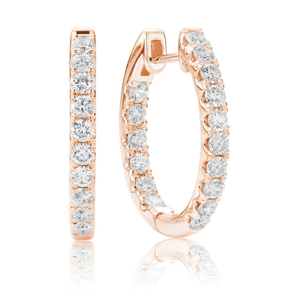 14K Rose Gold In and Out Diamond Hoops