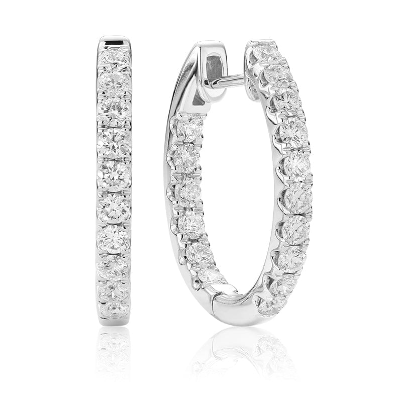14K White Gold In and Out Diamond Hoops