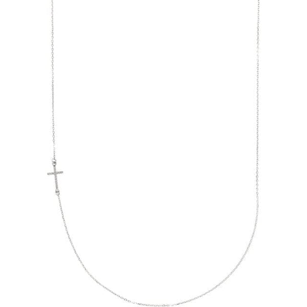 Off-Center Sideways Cross  Necklace