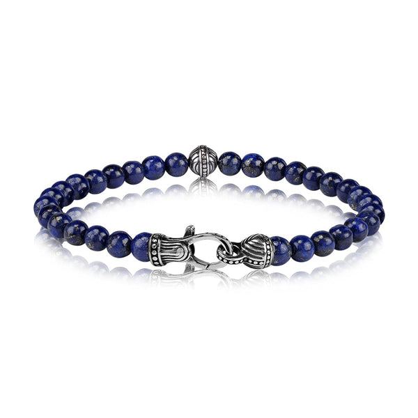 6mm Lapis Blue Bead Bracelet - 7""