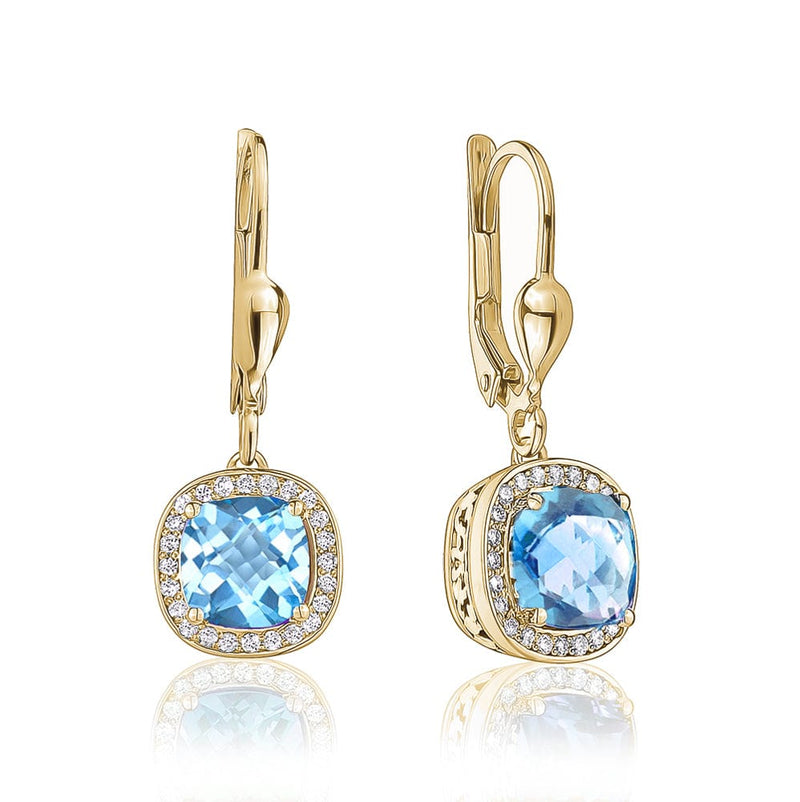 FiiF Swiss Blue Topaz Halo Earrings