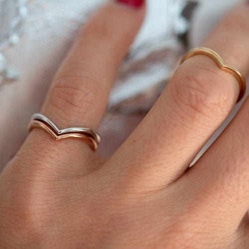 10K Solid Gold Chevron Ring