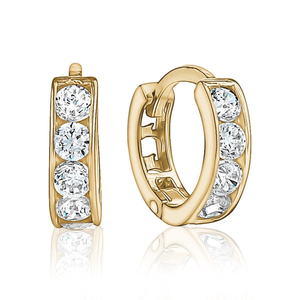10K Yellow Gold CZ Hoops