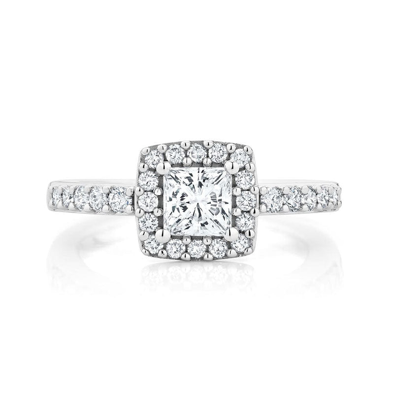 0.80ct Halo Princess Cut Canadian Diamond Engagement Ring