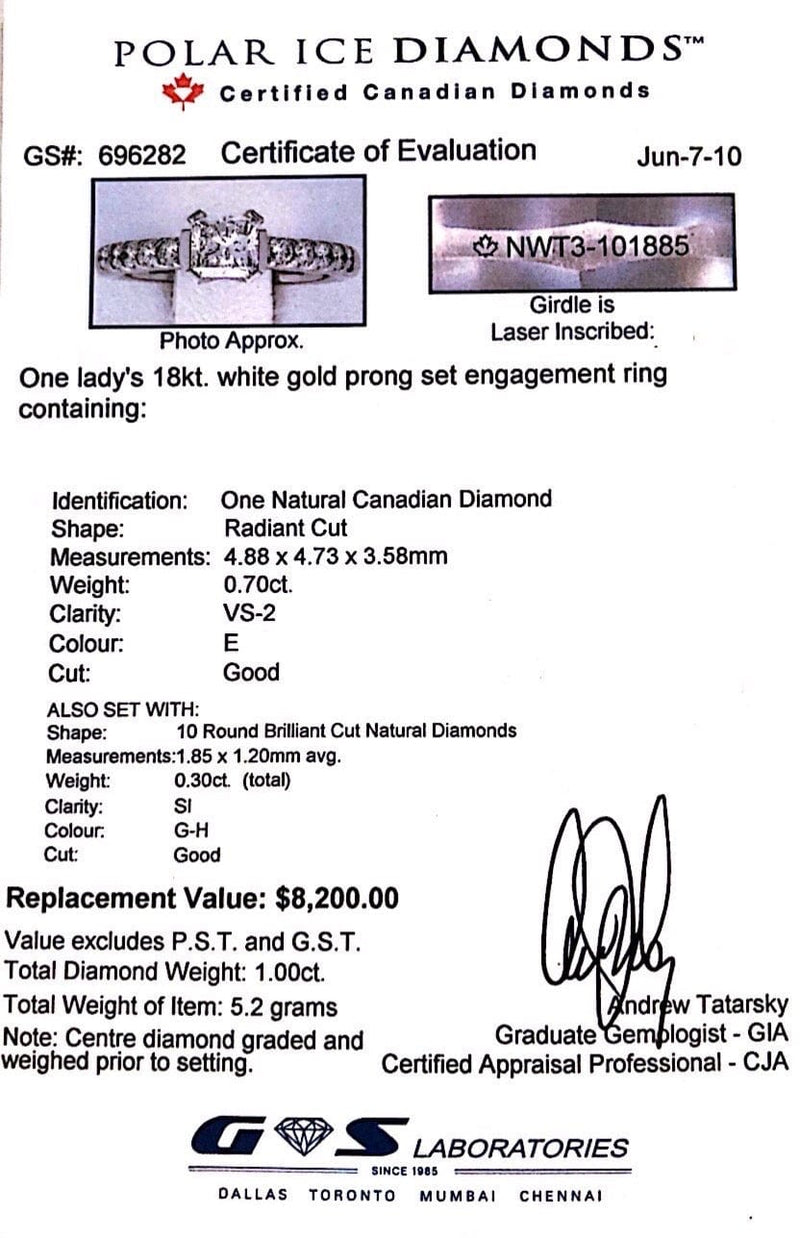 0.70ct Radiant Cut Canadian Diamond Engagement Ring