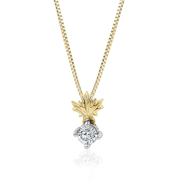 Canadian Diamond Leaf Pendant