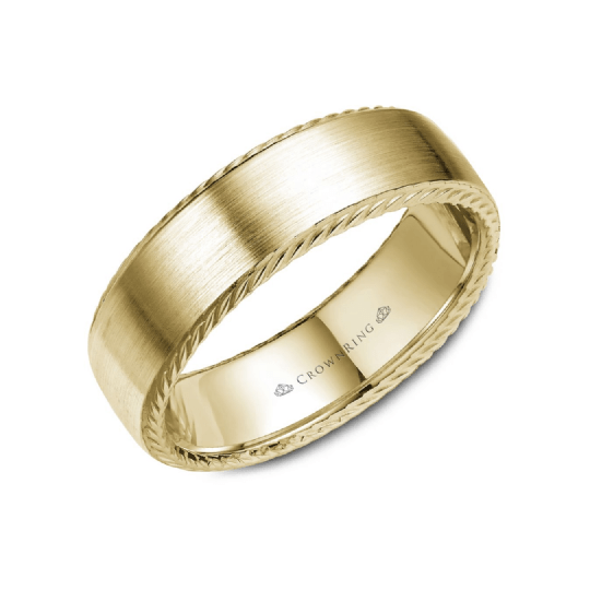 Brushed Finshed with Rope Detailng Wedding Band (7MM)