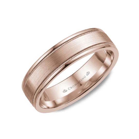 Sandpaper Center with High Polished Sides Wedding Band (6MM)