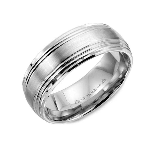 Brushed Center and Line Detailing Wedding Band (8MM)