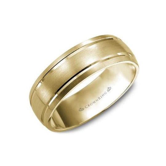Sandpaper Top and High Polish Grooves Wedding Band (7MM)