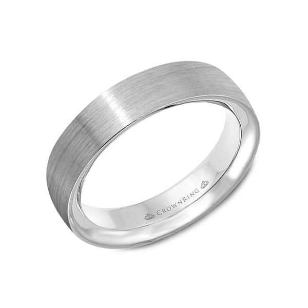 Sandpaper and High Polish White Gold Wedding Band (5.5MM)