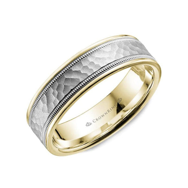 Hammered and Milgrain Wedding Band (6MM)