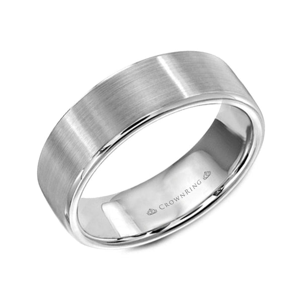 Sandpaper Top with High Polish Round Edges Wedding Band (7MM)