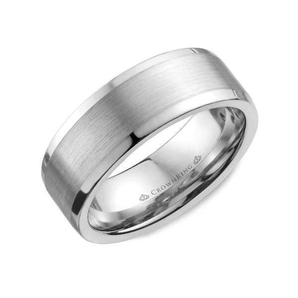 Sandpaper Center with High Polished Sides Wedding Band (8MM)