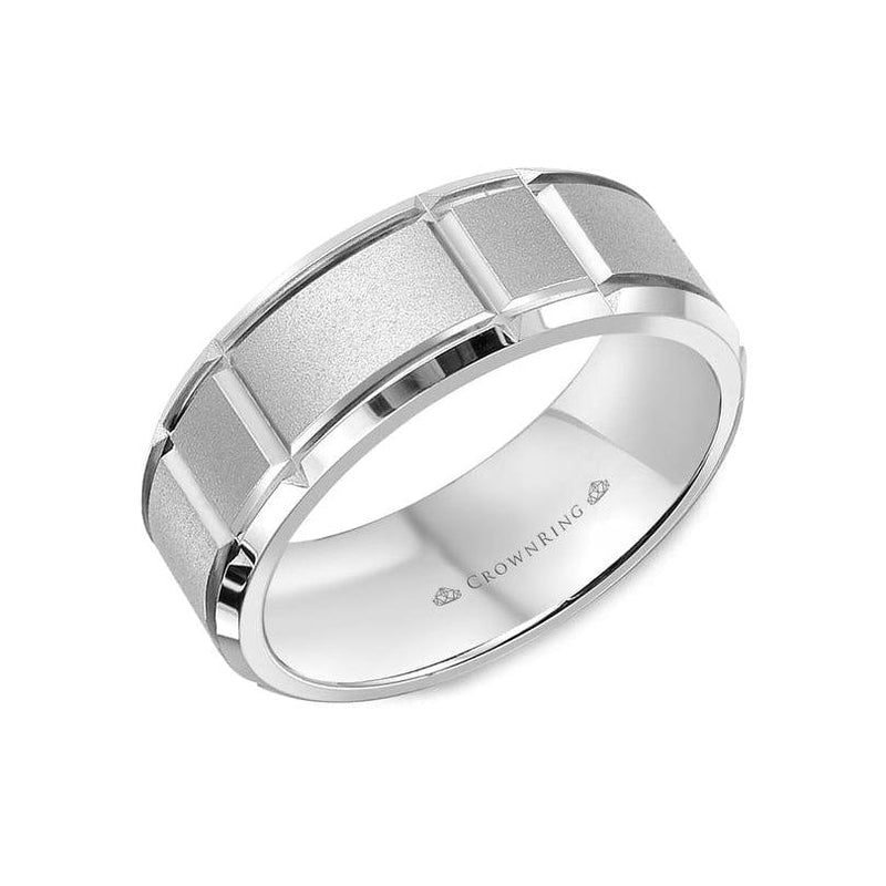Fine Sandblast Center and High Polish Edges Wedding Band (7MM)