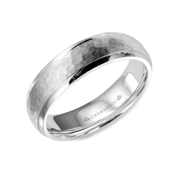 Sandblast Hammered Center with High Polished Edges Wedding Band (6MM)