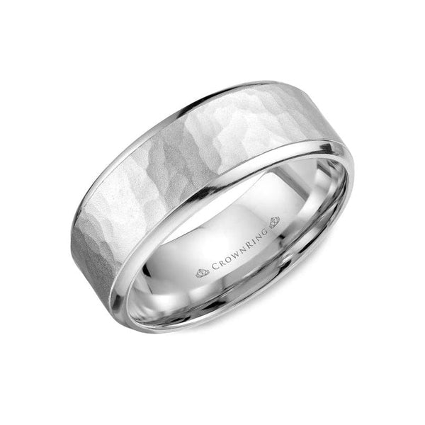 Sandblast Hammered Center with High Polished Edges Wedding Band (8MM)
