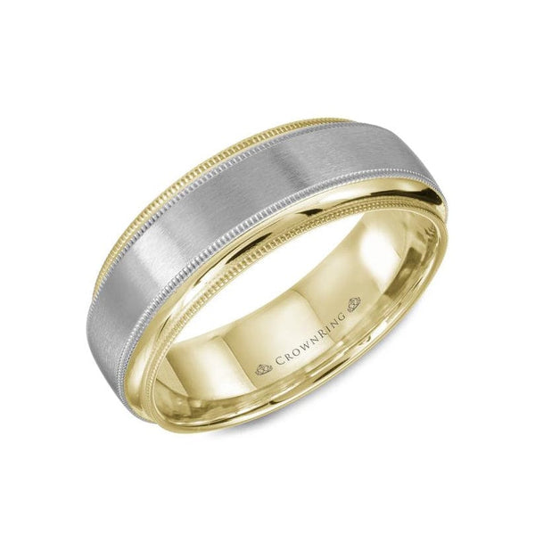 Duo Gold Sandpaper Center with Miligrain Detailing and High Polished Edges Wedding Band (7MM)