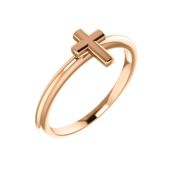 14K Stackable Cross Ring