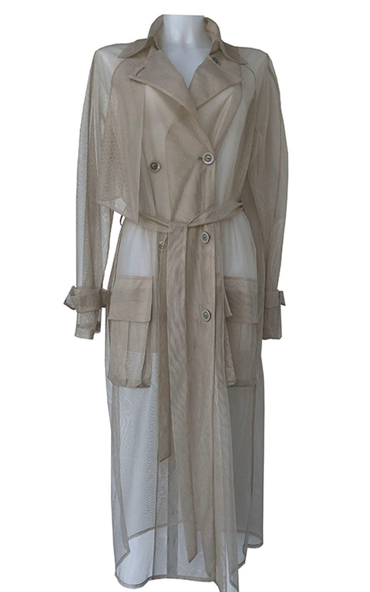 Perforated Double-Breasted Beige Coat