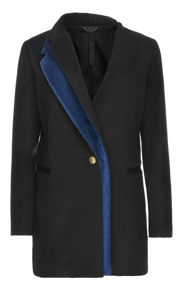 Jacket With Blue Asymmetric Breast