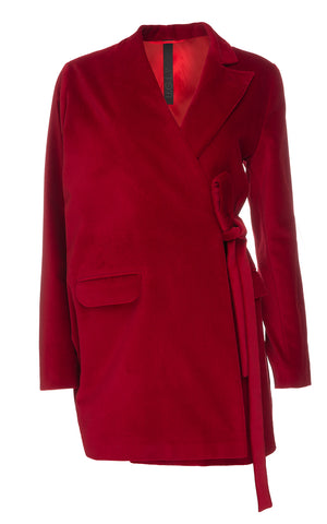 Red Asymmetric Sleeve Jacket