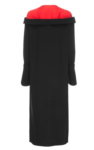 Long Black Dress With Red Colar