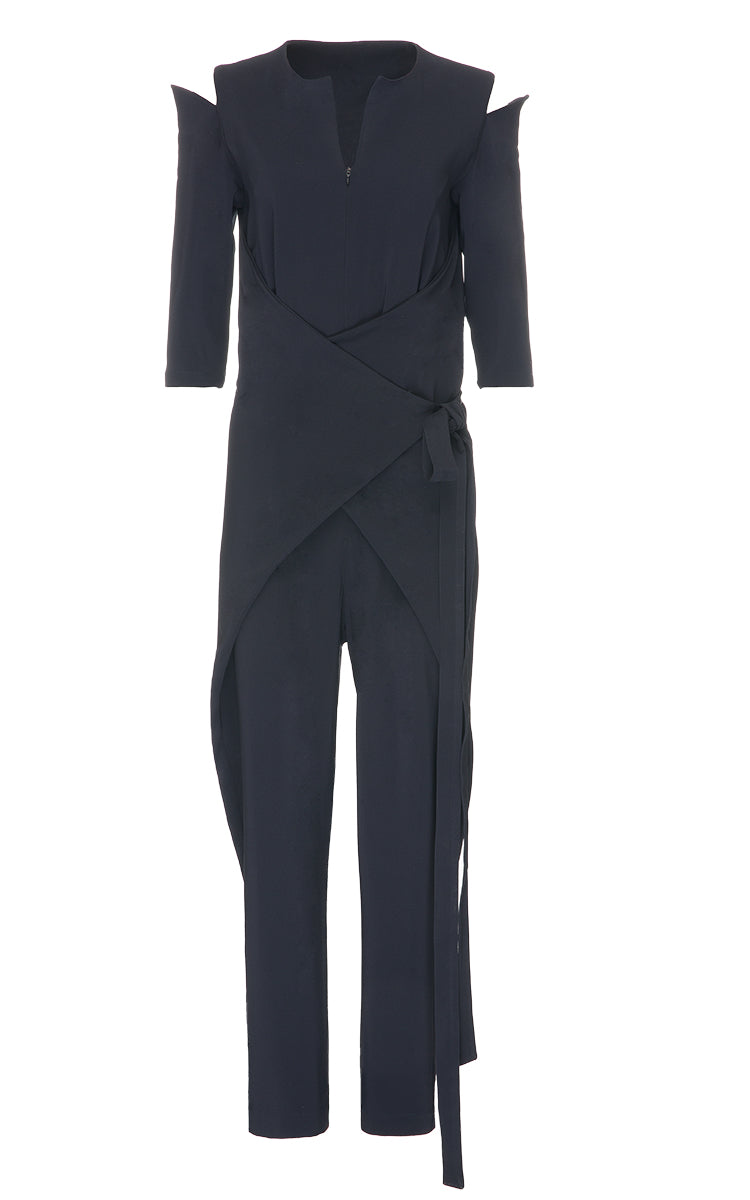 Dark Blue Open Shoulder Jumpsuit