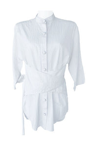 White Cotton Belted Blouse