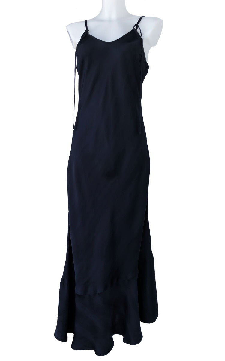 Dark Blue Silk Long Dress