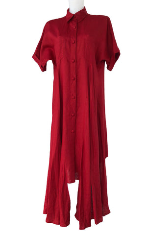 Red Linen T-shirt Dress