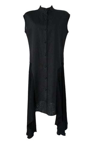 Black Linen and Silk Dress