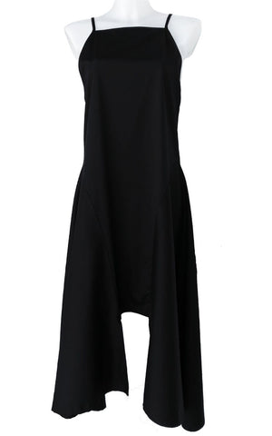 Black Cotton Dress With Adjustment Belts