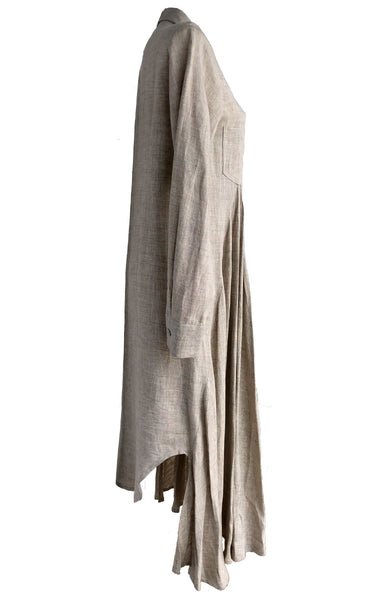Beige Linen T-shirt Dress