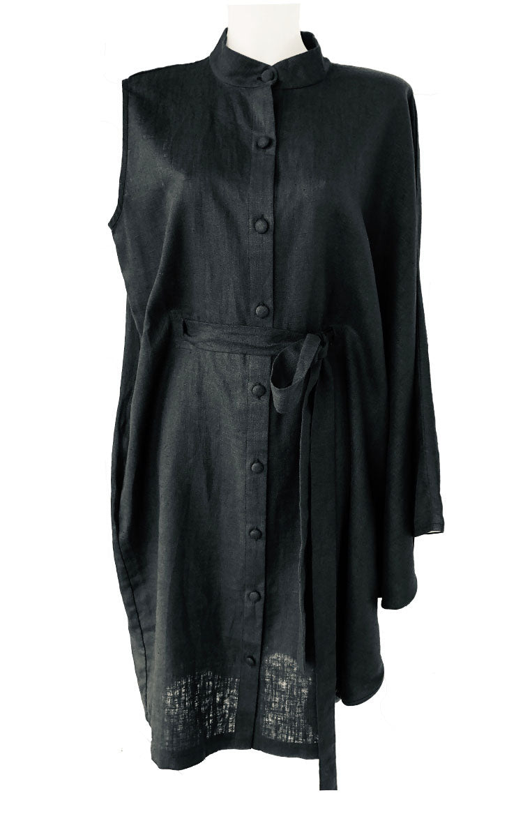 Black Linen Asymmetric Dress