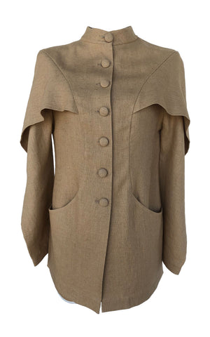 Beige Linen Romantic Jacket