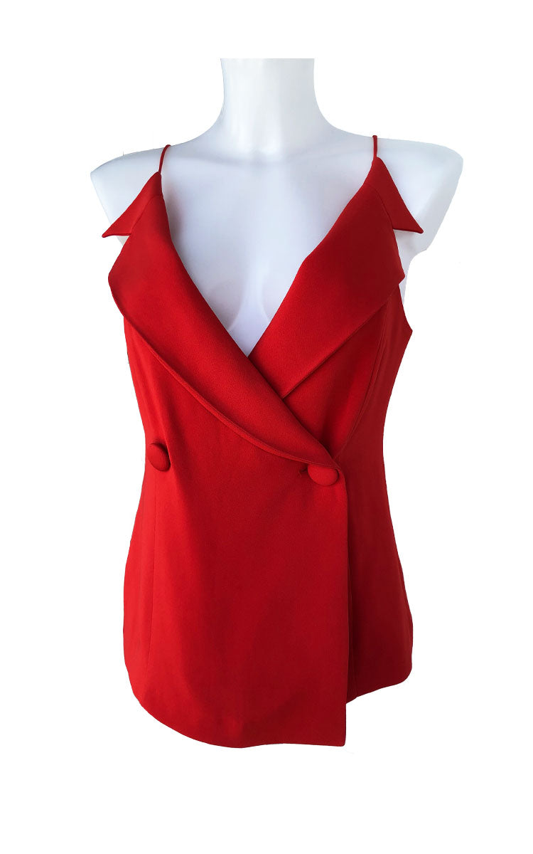 Red Double-Breasted Silk Blouse Vest
