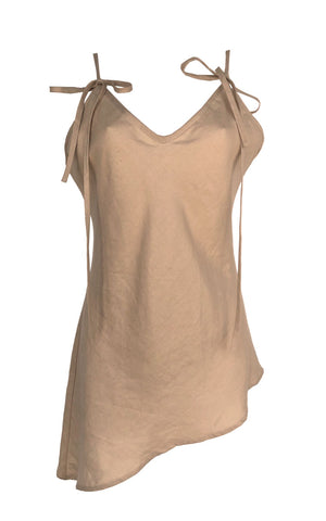 Beige Asymmetric Linen Top