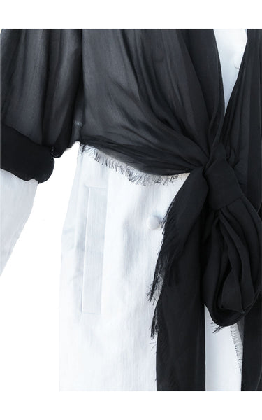 Silk Black Chiffon Denim Coat