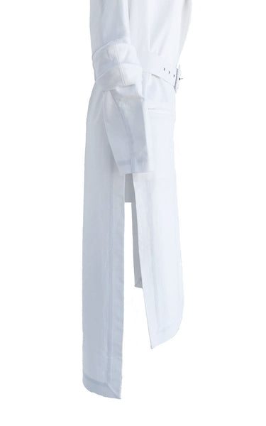 White Denim Geometric Trench with Lather Belt